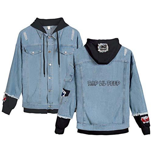 XdsyLil Peep Modetrend Damen Jeansjacke Hoodie,blue1,XS