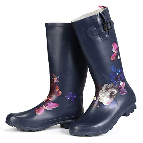 gracosy Regenstiefel Damen Bunt, Wasserdicht Gartenschuhe Neopren Gummistiefel Halbhoch Slip on Rain Boots Flach Casual Wellington Boots für Reinigung, Gartenarbeit, Regentag, Wandern