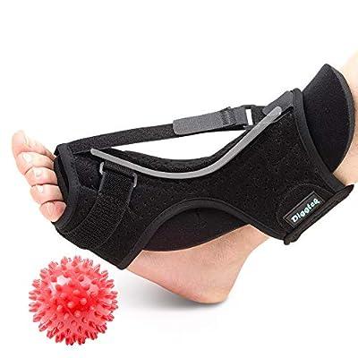 Plantar Fasciitis Night Splint, Diggtek Foot Drop Orthotic Brace, Adjustable Elastic Night Splint for Plantar Fasciitis, Heel, Ankle, Arch Foot Pain, Achilles Tendonitis with Hard Spiky Massage Ball