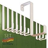 Perchero puerta – conjunto de 10 piezas, blanko – Made in Germany percha puerta sin perforación - colgador especialmente fuerte