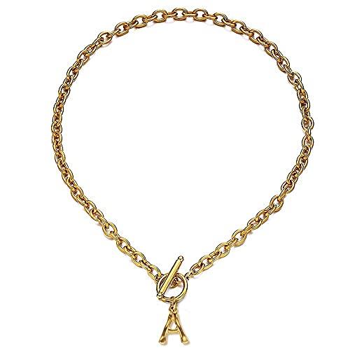 Cadena de acero inoxidable con diseño de rama de árbol con 26 letras del alfabeto, collar para mujer con inicial de la A-Z