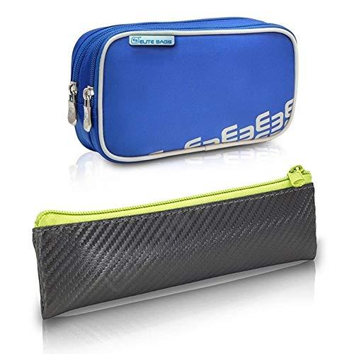 2er Pack Diabetiker Tasche und Etui, Dia's und Insulin´s, Blau und Grau, Polyester und Kohlefaser