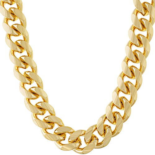 LIFETIME JEWELRY 11mm Cuban Link Chain Necklace for Men & Teen 24k Gold Plated (Gold, 30)