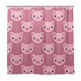 Wamika Duschvorhang mit Cartoon-Schweine-Gesicht, Tier-Design, langlebiger Stoff, schimmelresistent, wasserdicht, Badewannenvorhänge mit 12 Haken, 183,0 cm x 183,0 cm, Rosa