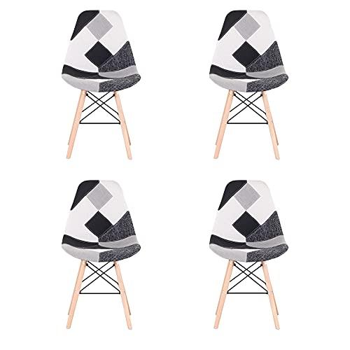 BenyLed Lot de 4 Chaises de Salle à Manger Rétro Patchwork Chaise Tissu Salle à Manger Chaise pour Cuisine Salle à Manger (Noir)