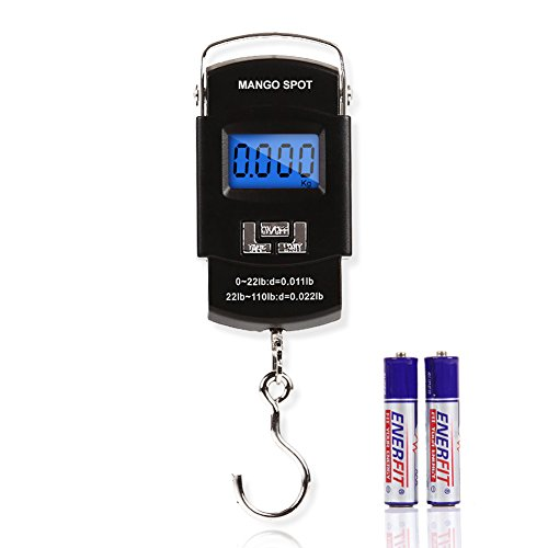 MANGO SPOT LCD Electronic Balance Digital Fishing Hook Hanging Scale 110 Pound/50 Killogram, 10 Gram, 2 AAA Batteries Included