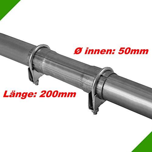 Ø 50x200mm Verbindungsstück Reparaturrohr Rohr mit Aufweitung Auspuff Schelle Universal Rohrverbinder Klemmstück Rohrschelle Doppelschelle Abgasanlage