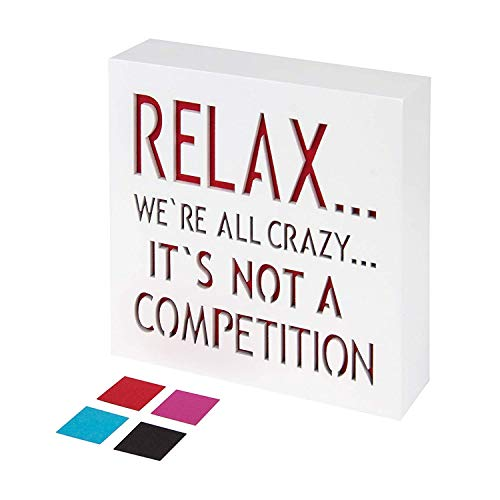 KAUZA Relax Were All Crazy Wood Plaque with Inspiring Quotes | Wall & Tabletop Decoration | Funny Home & Office Decor (Red)