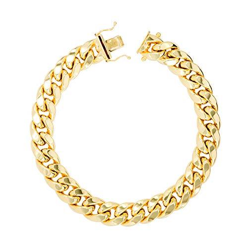Nuragold 11mm hombres de oro amarillo de 14k hollow miami cubano enlace pulsera de cadena, 8'- 9'