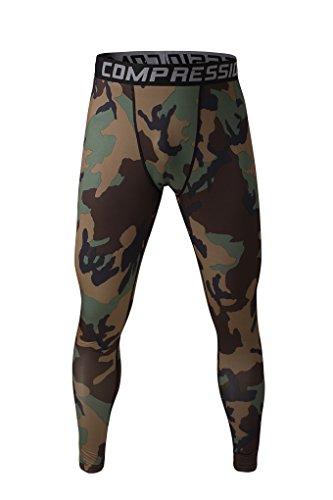 Fringoo Workout-Kompressions-Strumpfhosen für Herren zum Laufen, Fitness-Leggings, lange untere Lage, Thermo-Hose für Sport, Training Gr. M, tarnfarbe