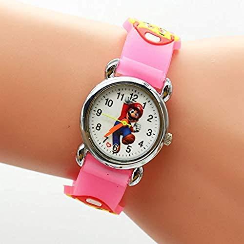 LINKDOO Reloj de Juguete Super Mario Dibujos Animados 3D Lindo Super Mario niños niñas niñas niños Estudiantes Relojes de Cuarzo Relojes Muy Populares