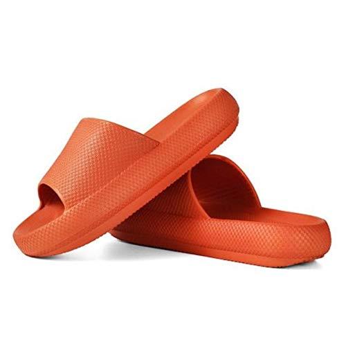 Sandalias Antideslizantes engrosadas de Secado rápido universales Zapatillas de casa de Suela Gruesa Calzado de baño Sandalias de Playa de Verano Zapatillas-Naranja, 38-39