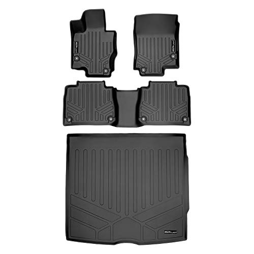 SMARTLINER Custom Fit Floor Mats 2 Rows and Cargo Liner Behind 2nd Row Set Black 2020 Mercedes-Benz GLE-Class 5 Passenger