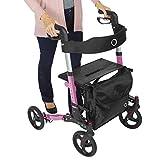 Vive Mobility Rollator Walker - Folding 4 Wheel Medical Rolling Walker with Seat & Bag - Aid for Adult, Senior, Elderly & Handicap - Aluminum Transport Chair (Pink)