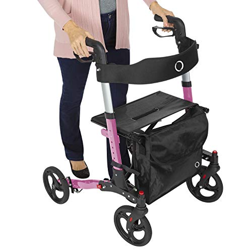 Vive Mobility Rollator Walker - Folding 4 Wheel Medical Rolling Walker with Seat & Bag - Aid for Adult, Senior, Elderly & Handicap - Aluminum Transport Chair (Pink)