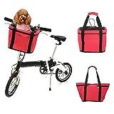 Lixada Cestino della Bici, Borsa da Trasporto Anteriore per Manubrio Bici da Bicicletta Staccabile/Borsa per Animali da Compagnia da 5 kg + Telaio in Lega di Alluminio + Borsa per la Spesa