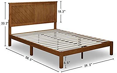 MUSEHOMEINC Wood Platform Bed Deluxe Unique Style Design with Headboard, Rustic Pine Finish, Twin
