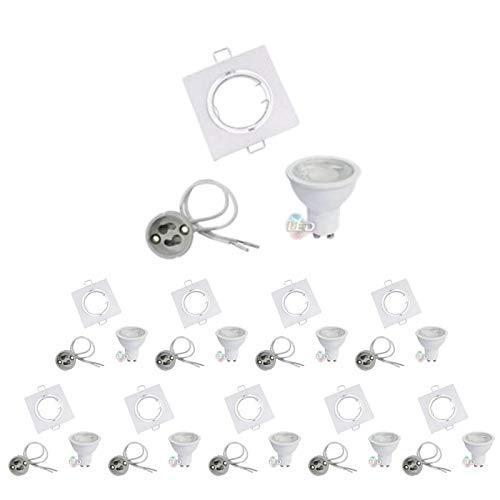 Kit de foco LED GU10 orientable cuadrado blanco con bombilla LED 8 W (Pack de 10) – Blanco neutro 4200 K – 5500 K