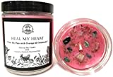 Heal My Heart Soy Affirmation Candle: 8 oz with Rose Quartz & Seraphinite Crystals, Herbs and Essential Oils for Grief, Sadness, Loss & Heartache for Wiccan, Pagan, Magic Spells & Rituals
