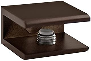 Glass Shelf Bracket Square Bronze for Glass, Acrylic Or Wood Shelves | Oil Rubbed Clip Clamp With Brass Screws, Gasket and Plastic Wall Anchors | Waterproof, Lightweight and Functional Design