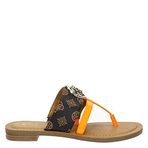 Guess Damen Schuhe Pantoletten braun neon FL6GEAFAL21 BRORA (Braun, 37)