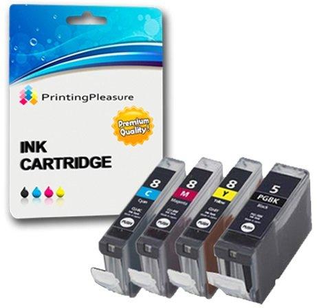 4 Druckerpatronen für Canon Pixma iP3300, iP3500, iX3300, iX3500, iX4000, iX5000, MP510, MP520, MP520X, MX700 | kompatibel zu Canon PGI-5BK, CLI-8C, CLI-8M, CLI-8Y