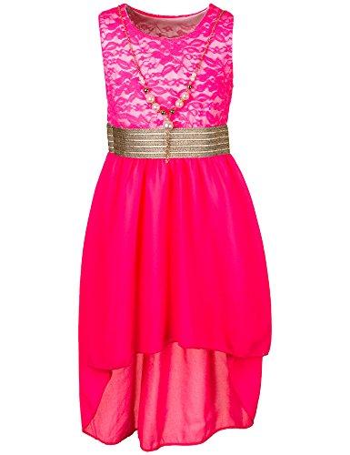 Unbekannt Kinder Sommer Fest Kleid für Mädchen Sommerkleid Festkleid mit Kette in vielen Farben M288npi Neon Pink Gr. 14/152 / 158