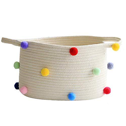 Cesta de algodón para juguetes, cesta de nido de pecho, cesta decorativa para salón, organizador, juguete, 10,24 W x 8,66 h, Beige