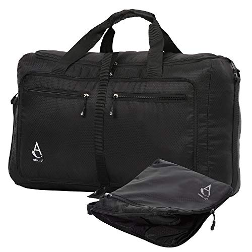 Aerolite Large 75L Ultra Lightweight Foldable Unisex Holdall Flight Sports Kit Duffel Hold Check in Luggage Bag Black