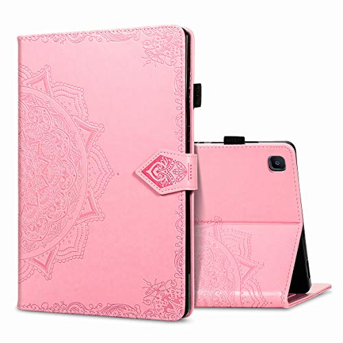 KM-WEN Tablet Case for Samsung Galaxy Tab S6 Lite SM-P610 (10.4 Inch) Bookstyle Embossing Mandala Pattern PU Leather Flip Cover Case Bag with Stand Auto Sleep/Wake Protective Cover Pink