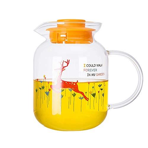BGROESTWB Jarra de Agua Simple Creativo calcomanía Resistente al Calor Cristal Botella de Agua fría Agua Fresco Jarra de Jarra de Jarra de Jarra con Tapa (Color : Clear, Size : 1200ml)