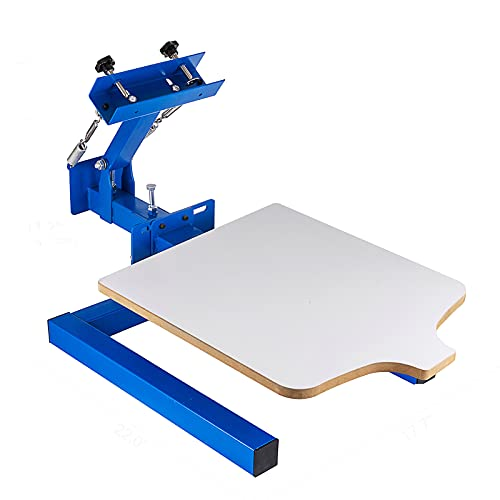 """SHZOND Screen Printing Press 1 Color 1 Station Silk Screen Printing Machine 21.7"""" x 17.7"""" Removable Pallet Screen Printing Machine Press for T-Shirt DIY Printing"""