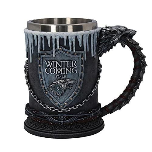 Cerveza Tazas, 3D Gothic Goblet Hierro Throne Tankard Resin Acero Inoxidable Copa de Vino Tazas Cumpleaños Regalo de San Valentín Día