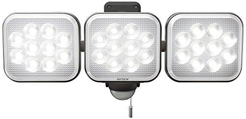 ムサシ RITEX フリーアーム式LEDセンサーライト(12W×3灯) 「コンセント式」 防雨型 LED-AC3036