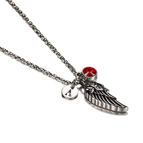 Beydodo Memorial Anhänger Halskette Edelstahl Engelsflügel mit Geburtsstein Januar Buchstabe Q Urne Kette Silber Freundschaftskette