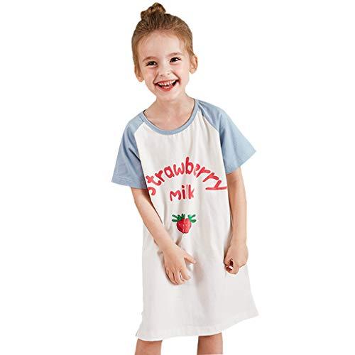 Camisón para Chicas De Princesa Ropa De Dormir para Niños Pijama para Niñas Azul Fresa 3-12 Años