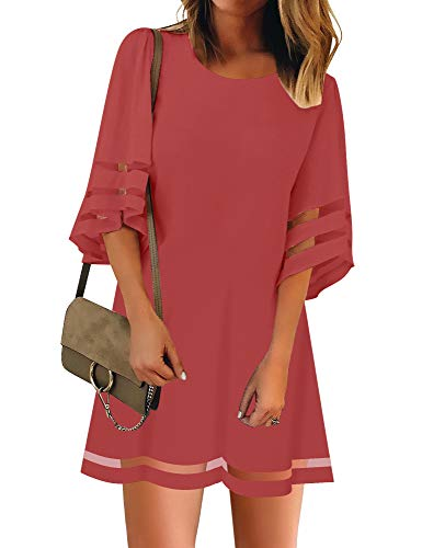 LookbookStore Women Casual Summer Crewneck Mesh Patchwork 3/4 Bell Sleeve Loose A-line Tunic Dress Tea Rose Size X-Large