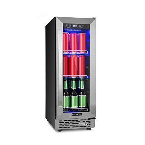 Klarstein Beerlager 56 Getränkekühlschrank, 56 Liter, 20 Flaschen, Unterbaufähig, 82 cm Höhe, Glastür mit Edelstahlrahmen, 3 Einschübe, Temperatur: 0-10 °C, Touch-Bedienfeld, schwarz