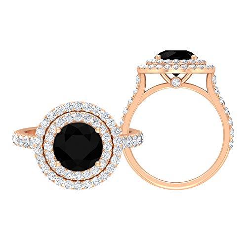 Anillo de compromiso de diamantes negros de 3,25 CT creado en laboratorio con detalles de moissanita (8 mm de forma redonda, 14K Oro rosa, Size:EU 67