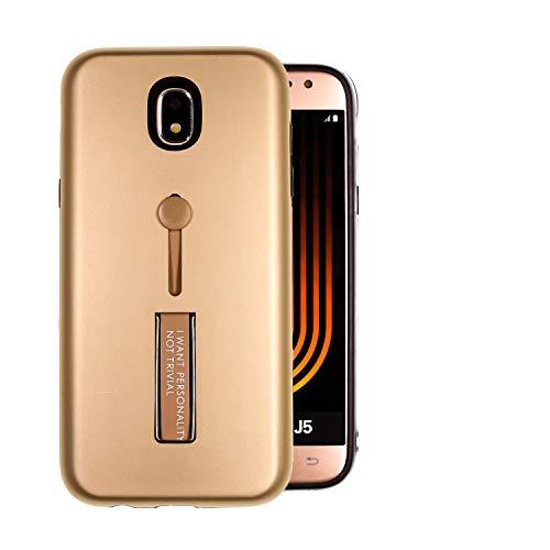 COOVY Custodia per Samsung Galaxy J5 SM-J530 / SM-J530F/DS (Model 2017) / J5 PRO plastica + Silicone TPU, Extra Robusta, Una Bretella per Tenere Il Dispositivo con Il Dito | Colore Oro