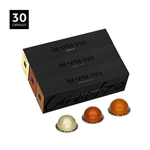 Nespresso Capsules VertuoLine, Flavored Variety Pack, Medium Roast Coffee, 30 Count Coffee Pods, Brews 7.8 oz, Flavored Assortment (SYNCHKG105830)