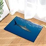 N-brand Alfombra de Puerta Alfombra Interior.Ducha Alfombras de Entrada de baño Alfombras Felpudo,Puerta de Entrada.Entradas de Piso, 40 x 60 cm.Tiburón En El Océano.