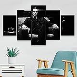 YHUJIK 5 Paneles murales Blanco y Negro La película del Padrino 5 Impresiones en Lienzo HD imágenes Modernas decoración del hogar Lienzo Impreso Pinturas en Lienzo.150x80cm