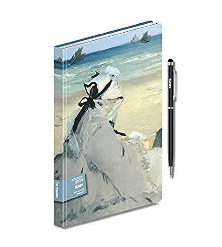 AGENDA giornaliera 2019 KAOS EDOUARD MANET Sulla spiaggia 19x13cm + penna touch + omaggio segnalibro