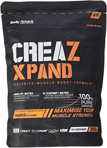 Body Attack- CreaZ Xpand, hochdosiertes Kreatin-Pulver, 3000mg premium Creatin (100% Rein), für alle Athleten, Kraftsport & Bodybuilding - Made in Germany - 300g (Orange)