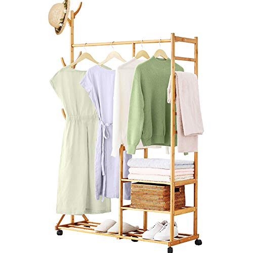 Homde Clothing Rack Bamboo Garment Rack Rolling Coat Rack Multifunctional Bedroom Hanging Rack Clothing Organizer Hat Tree 3 Layers Wardrobe Storage Shelves with Wheels 6 Hooks