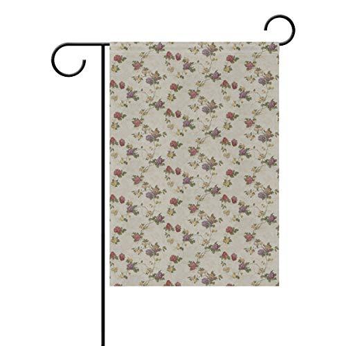 DEZIRO Drapeau de Jardin Drapeau de Jardin Double Face Motif Floral, Polyester, 1, 28x40(in)