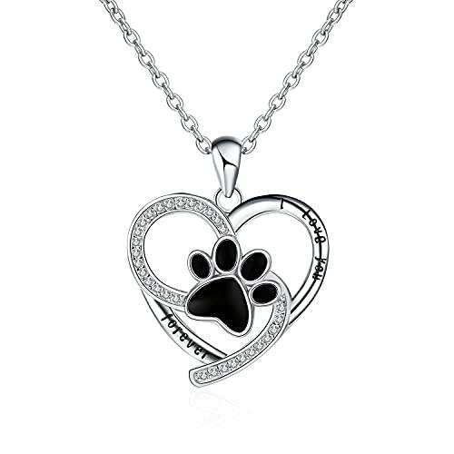 Kkoqmw 925 Plata esterlina Lindo Animal Amor corazón Perro Huella Colgante Collar DIY joyería