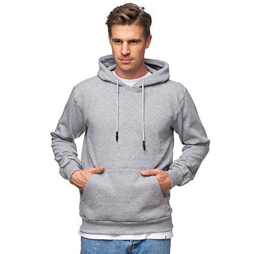 Smith & Solo Herren Kapuzenpullover – Sweatshirt Pullover Rundhals – Langarm – Slim – Fit – Training – Hoodie – Pulli – Hochwertige Baumwollmischung Männer, Graukapuze, XL