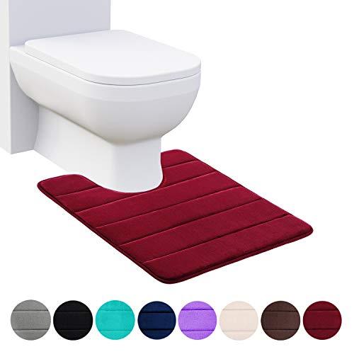 Homaxy Memory Foam rutschfeste Weiches Vorleger Toilette mit Ausschnitt 50 x 60 cm, Saugfähig Badematte Stand WC, Waschbar Badteppiche für WC,Weinrot
